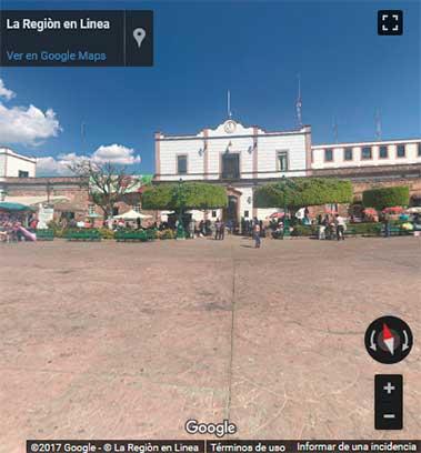 Vista 360° de la Plaza Cívica Benito Juárez de Zitácuaro, Michoacán.