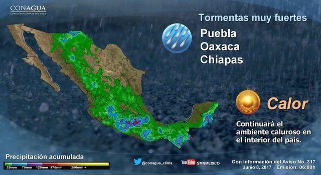 Intervalos de chubascos para Michoacán